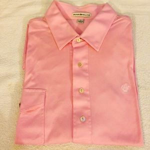 Peter Millar Solid Pink Golf Polo Shirt L